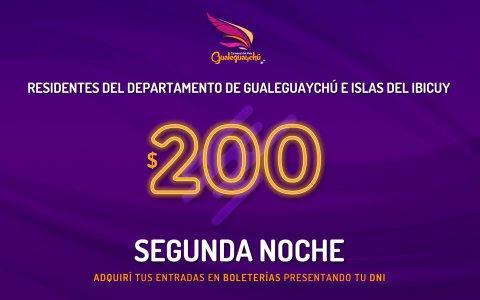 La entrada continuará a $200 para los gualeguaychuenses en la segunda noche del Carnaval del País